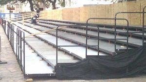 Image of Parade Risers Being Built with Custom Handrails