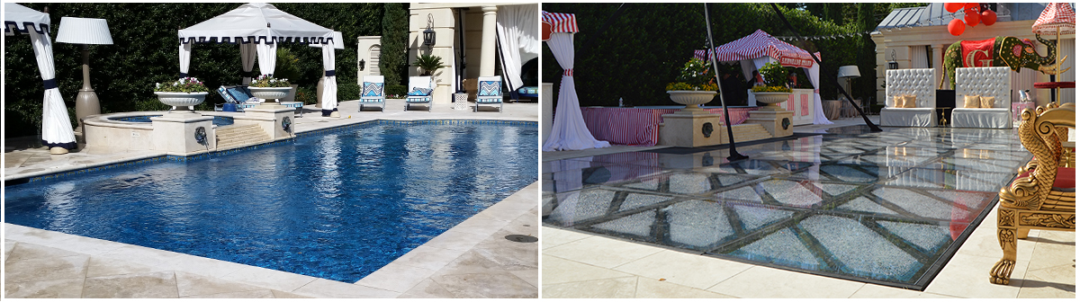 The image on the left is the swimming pool before the event took place. The image on the right is the same pool, after the flush mount pool cover installation was complete.