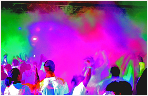 5K Black Light Run After-Party Crowd Image